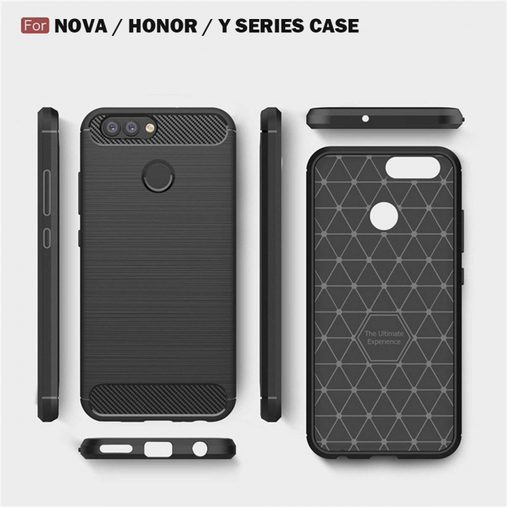 Huawei Honor 5X/6X/7X/5C/8/9/ Nova Case, Soft Silicon Case with Carbon Fiber Design Protection Cover black honor 6x