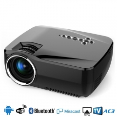 Mini LED WIFI Bluetooth Android 4.4 Projector 1G RAM 8G ROM Support 1080P Analog TV Projector black not include hdmi cable