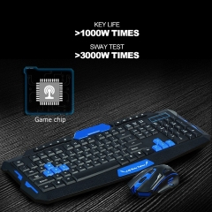 Wireless Gaming Keyboard Mouse Combos Waterproof Optical Multimedia Ergonomic USB Mechanical Mice black&red English