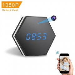 Mini Spy Camera Clock HD 1080P WiFi Smart Mirror Clock Night Vision Motion Detection Colorful light black one size