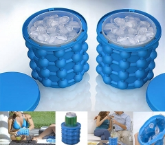 New Ice Cube Maker Genie silicone, Ice bucket The Revolutionary Space Saving Ice Cube Maker blue one size