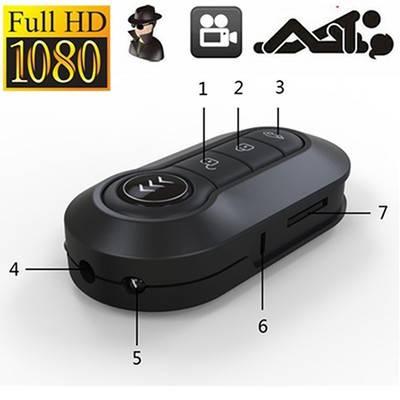 Mini Car Key DV Spy Hidden Camera Camcorder IR Night Vision HD 1920x1080P black one size