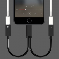 For Lightning Earphone Jack Lightning Charger Adapter Audio Charger for iPhone 7 7 Plus black one size