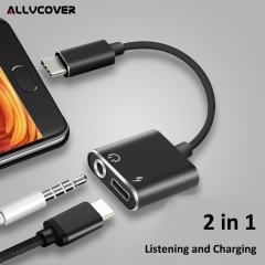 Type-C Audio Charging Adapter 2 in 1 Type C Male to Female 3.5mm Headphone Jack + Charging Converter black one size
