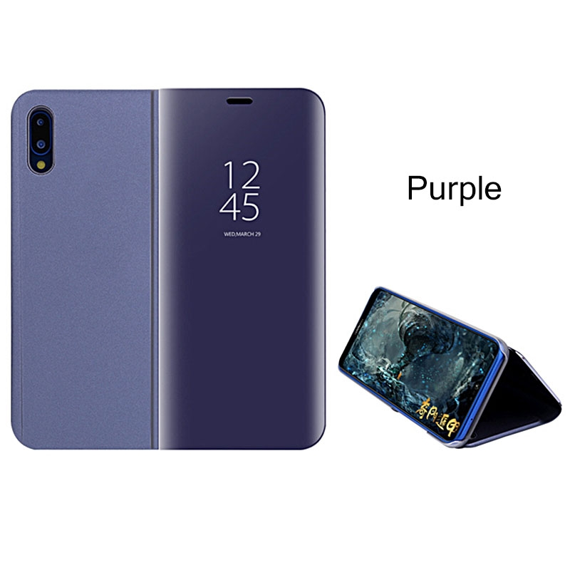 online store 95f1b 99ae4 Mirror View Smart Case For Huawei P20 Pro Leather Stand Flip Case For Mate  10 Honor 9 Lite Cover purple p9 plus