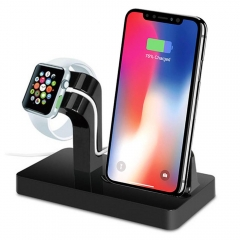 2 in 1 Charging Dock Station Bracket Cradle Stand Holder Charger For iPhone Dock For Apple Watch black one size