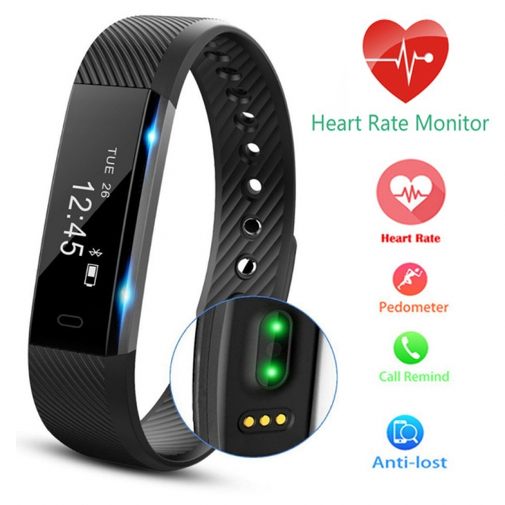 Fitness Tracker Bluetooth Wristband Pedometer Smart Watch Sleep Monitor, Waterproof Activity Tracker Black Black