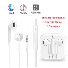 General Earphone Earpod Super Bass Stereo In-Ear 3.5mm headset headphone With Mic For IPhone/Android white