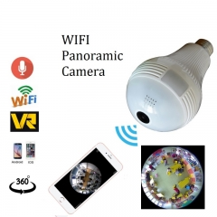 Bulb Lamp Wireless IP Camera Wifi Panoramic Home Security CCTV Camera 360 Degree Night Vision white one size