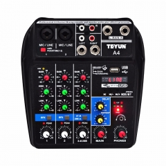 Multi-purpose Audio Mixer with Bluetooth Record 4 Channels Mic Line Stereo USB Playback Sound Card