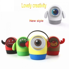Portable Bluetooth Stereo Bass Sound Amplifier Cartoon Speakers Speaker Gift With Mic For Cellphone red