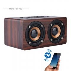 Wooden Wireless Bluetooth Speaker Portable HiFi Shock Bass TF card Soundbar for Phone red W5 bluetooth