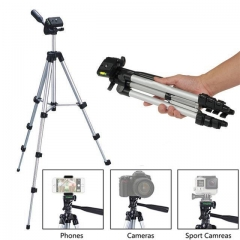 Portable Tripod Adjustable Scalable Pan Head Phone DSLR Camera Tripod Mount Bracket Holder Stand sliver one size