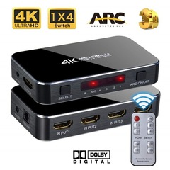 HDMI Splitter Switch 2.0 4K HDMI 2.0 Switch 4x1 4 In 1 Out HDMI Switch Audio Extractor With ARC black one size
