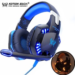 Gaming Headset Stereo Sound 2.2m Wired Headphone with Mic Noise Cancelling LED Light for Computer PC blue