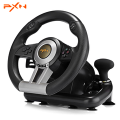 Racing Game Steering Wheel with Pedal Game Controller Joystick Compatible with PC PS4 Xbox One black one size