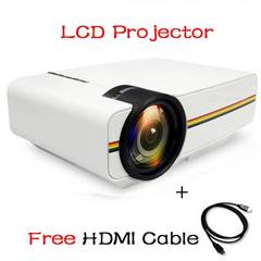 Mini Projector Wired Sync Display stable than WIFI Beamer For Home Theatre Movie AC3 HDMI VGA USB white one size