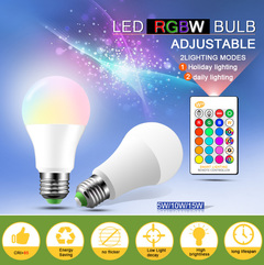 Magic RGB LED Light Bulb Smart Lighting Lamp Color Change With Remote Controller 5 10 15W Smart Bulb white one size 5w