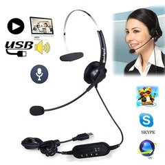 USB Headset with Mic Adjustable Noise Canceling Earphone Call Center Headset Earphone for PC Laptop