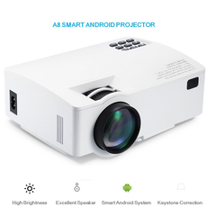 Android Projector Support HD 1080P BT4.0 HDMI 4K Video Home Theater LCD Wifi Smart Android Projector white one size