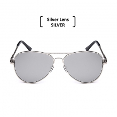 Rimless Polarized Aviator Sunglasses Men Women UV400 Classic Sun Glasses silver/silver one size