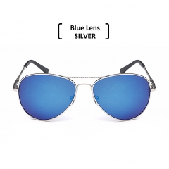 Rimless Polarized Aviator Sunglasses Men Women UV400 Classic Sun Glasses blue/silver one size