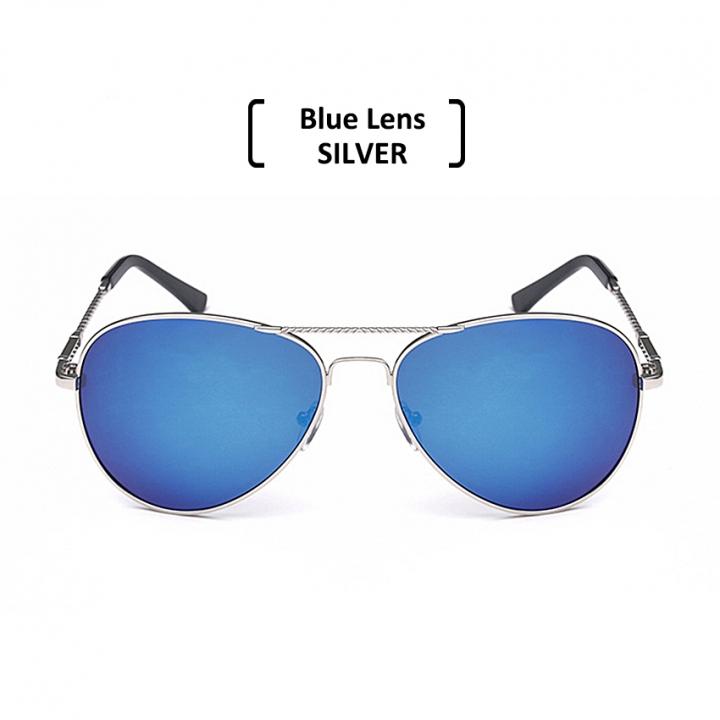 Rimless Polarized Aviator Sunglasses Men Women UV400 Classic Sun Glasses blue/silver one size