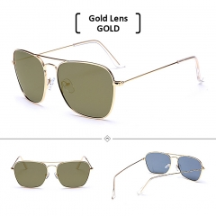Polarized Rimless Square Sunglasses Men Women UV400 Eyewear Accessories Sun Glasses gold/gold one size