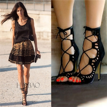L740-3JJ 2017 Women Suede Block heel Sandals Pumps Lace Up Sandals Slippers heel black 39
