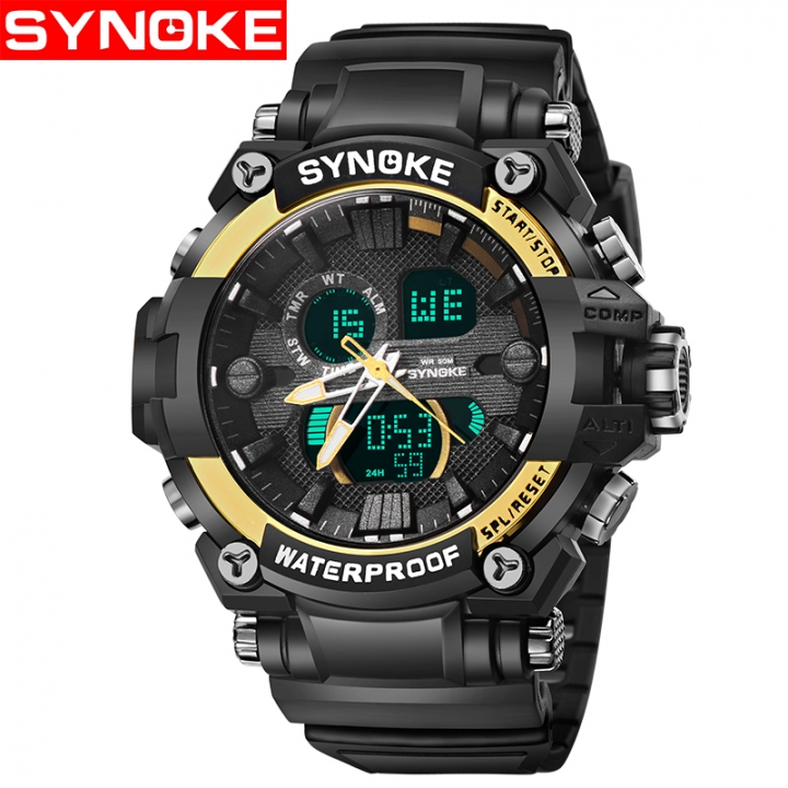 Students outdoor mountain climbing sports watch LED men's multi-functional waterproof watch Black gold one size