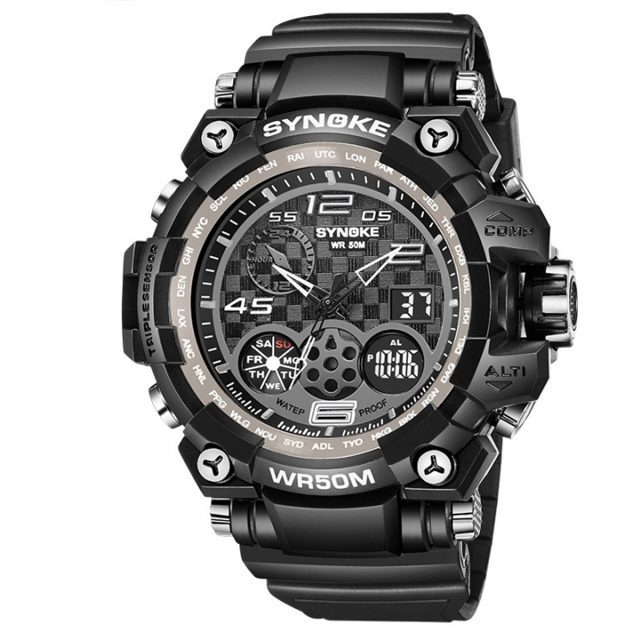 Men Sport Watches Dual Movement Countdown Timer LED Light Quartz Digital Wristwatches Waterproof black one size