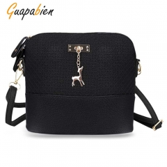 Guapabien Stylish Plaid Pattern Small Deer Pendant Shell Shoulder Handbag for Ladies black one size