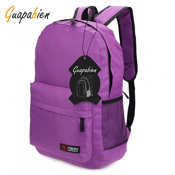 Guapabien Solid Color Letter Ladder Lock Zipper Portable Backpack for Unisex deep purple one size