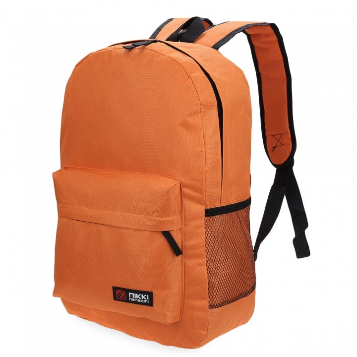 Guapabien Solid Color Letter Ladder Lock Zipper Portable Backpack for Unisex orange yellow one size