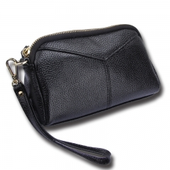 Genuine Leather Women Wallets Brand Design High Quality phone Card Holder Long Lady Purse Clutch black one size