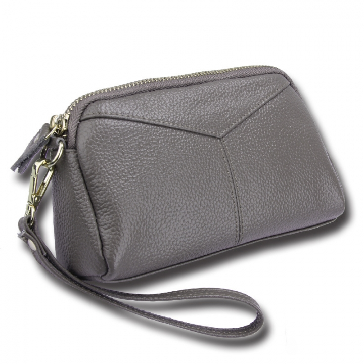 Genuine Leather Women Wallets Brand Design High Quality phone Card Holder Long Lady Purse Clutch gray one size