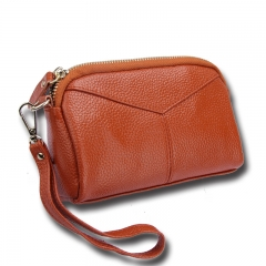 Genuine Leather Women Wallets Brand Design High Quality phone Card Holder Long Lady Purse Clutch brown one size