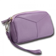 Genuine Leather Women Wallets Brand Design High Quality phone Card Holder Long Lady Purse Clutch purple one size