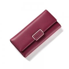 WEICHEN Fashion Women Wallet Clutch Purse Female Long Leather Ladies Wallets Holder Women Money Bag wine red one size