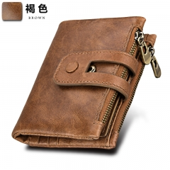 Short Genuine Leather Cowhide Cover Men Wallet Card Holder Coin Money Male Purse Card Holder brown one size