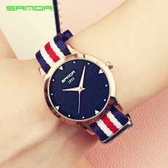 Fashion Ladies Watches Nylon Strap Black Dial Waterproof Quartz Watch Women Simple Sport Clock red-5