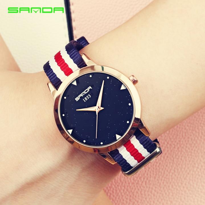 Fashion Ladies Watches Nylon Strap Black Dial Waterproof Quartz Watch Women Simple Sport Clock red-5