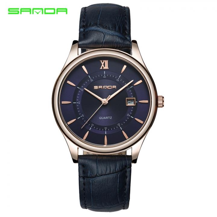 Fashion UltraThin Watches Mens Trendy Belt Business Men's Quartz Watch Casual Minimalist Waterproof blue one size