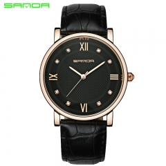 Ladies Watches Fashion Quartz Watch Simple Strap Lovers Watches MAN BLACK