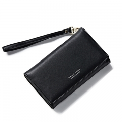 WEICHEN Fashion Women Long Clutch Wallet Ladies Pu Zip Female Card Holder Coin Purse black one size