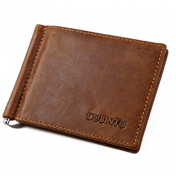 Vintage Casual Business Classic Genuine Leather Bifold Purse Men Wallet Money Clip Card Holder coffee one size