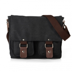 Men Canvas Bags Women Casual Cover Messenger Bag Double Wear-resisting Student Satchel black one size