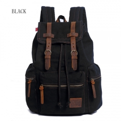 Fashion Men Backpack Vintage Canvas Backpack School Bag Travel Bags Large Capacity Laptop Backpack black small size