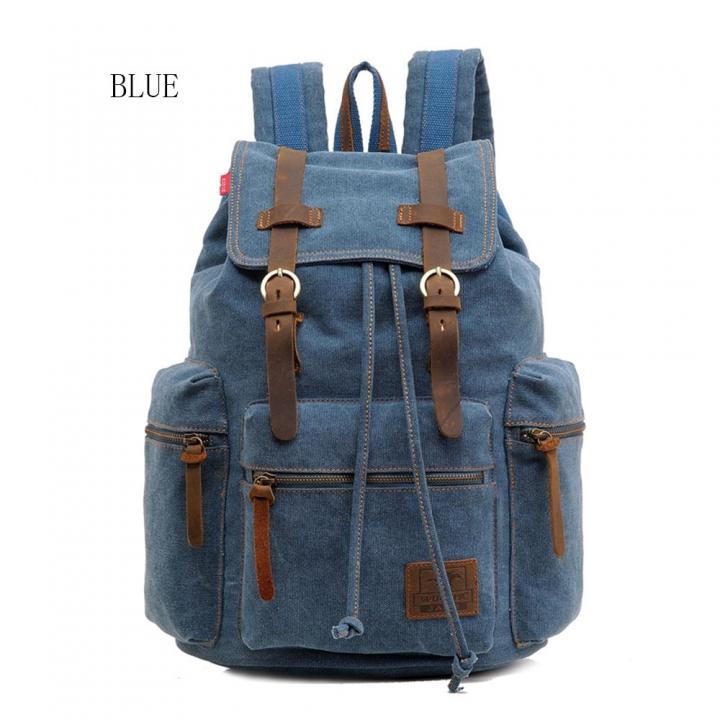 Fashion Men Vintage Canvas Backpack Girls School Bag Women Travel Large  Capacity Backpacks blue small size f8504d4870936