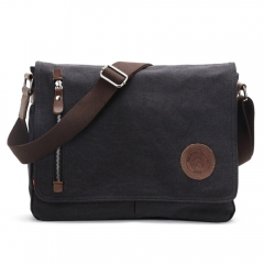 Canvas Messenger Bags Shoulder Bag Men Business Bag Travel Schoolbag Women Package black one size